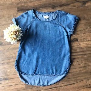 Cloth & Stone short sleeve chambray top, Small
